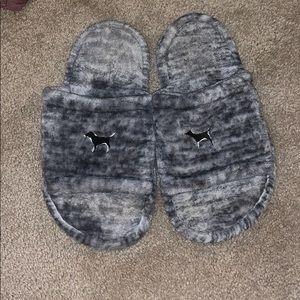 VS pink fuzzy dog slippers